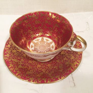 Aynsley maroon teacup and saucer, Sold