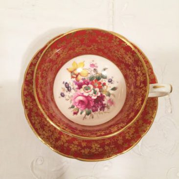 Another view of Hammersley artist signed F. Howard teacup and saucer, Sold.
