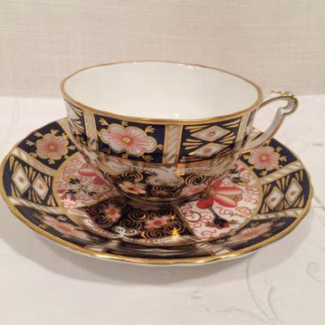 Four Royal Crown Derby imari teacups and saucers made exclusively for Tiffany and company, $150 each