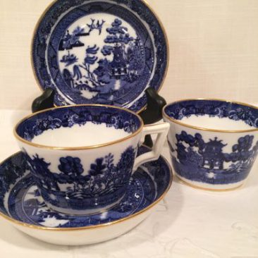 Minton deep blue willow cups and saucers, late 19th century, $55 each