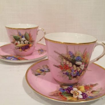 Four pink Royal Worcester cups and saucers each painted with different flowers, Circa-1878, Price-$120 each