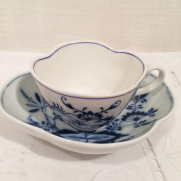 Meissen blue onion quatrefoil cup and saucer
