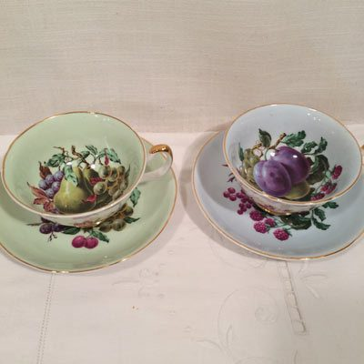 Royal Grafton fine bone china teacups with fruit