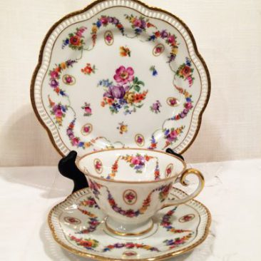 Schumann Bavaria teacups and saucers and cake plates, all pieces with a reticulated edge, Price-$85 for each three piece set