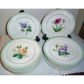 8 Paris Porcelain plates, all with different flowers