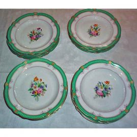 17 Paris Porcelain soups, all different, 9 inches, ca-1890s, sold