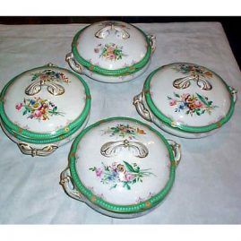 4 covered Paris Porcelain vegetables all painted differently, 12 inches, ca-1890s, sold
