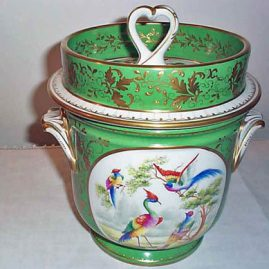 Paris cooler painted by Le Tallec, Paris, different paintings on both sides, raised gilding, Sold