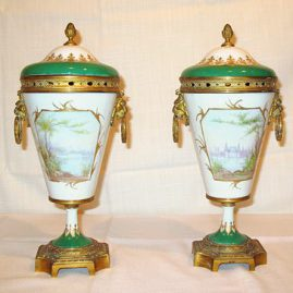 "Back of Pair of ""Sevres"" urns depicting the marriage of Napoleon and Josephine,"