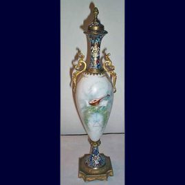 "Back of ""Sevres"" urn with champleve enamel decoration"