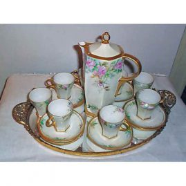 M Z Austria artist signed chocolate set, 8 chocolate cups & chocolate pot, ca-1900, sold