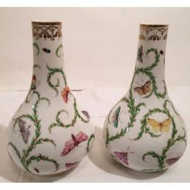 Pair of rare Bloor Derby vases hand painted with different butterflies