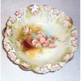 R.S. Prussia bowl, peach and pink roses in basket, 9 1/4 inches, sold