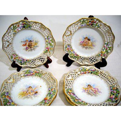 Seven Ambrosius Lamm Dresden reticulated cherub plates