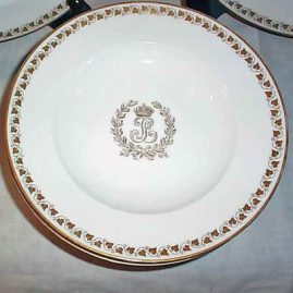 Close up of Sevres Louis Philippe wide rim soups, sold