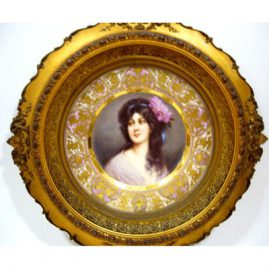 Close-up of Royal Vienna plate signed Wagner of Amorosa, Sold