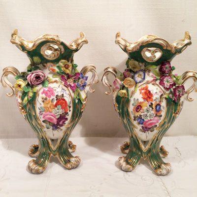 Pair of beautiful Coalbrookdale vases with raised flowers