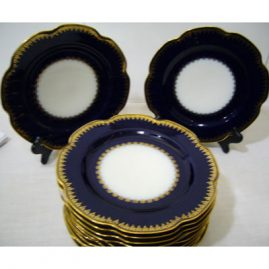 12 Haviland Limoges cobalt fluted luncheon or dessert plates, made expressly for J. E. Caldwell & Co