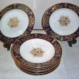 "Seven Sevres cobalt with raised gilding wide rim soups, 9 1/2"", ca-1872, Dore a Sevres, sold"