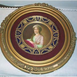 Royal Vienna plate of Mrs. Stone artist signed Richter, ca-1890s, size with frame-17 inches, $2400.00