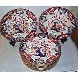 12 Royal Crown Derby dinners, 10 1/2 inches, ca-1893