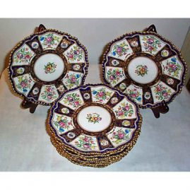 12 Crown Staffordshire cobalt and flowered dessert or luncheon plates, 8 1/2 inches, Sold