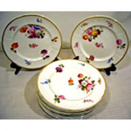 Set of 12 Davenport plates, each painted with different bouquets, before 1882, 9 1/4 inches, Sold