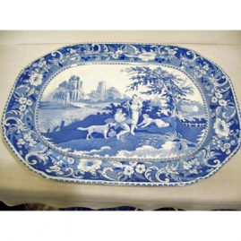 "Rare Davenport well and tree platter with picture of lady, man baby and dog in a country setting. Width-20 inches by 15 1/2"", 19th century, Sold"