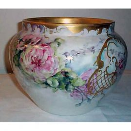 Large Limoges D & Co. jardinaire, 1894-1900, signed Emily P. King, ht. 9 inches by 13 wide, sold