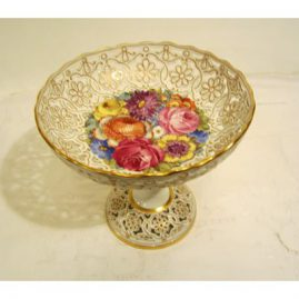 Ambrosius Lamm Dresden reticulated compote with large bouquet of flowers, circa-1890s, 8 inches tall by 8 3/8 inches in diameter. Sold.