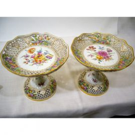"Pair of Lamm Dresden reticulated compotes, 1890s, 6 1/2"" tall by 7 1/2"" wide. Sold."