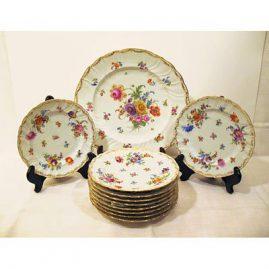 Dresden round platter and 10 Dresden desserts or luncheons, 11 Dresden bread plates, , Richard  Klemm Dresden, ca-1890-1915,Sold
