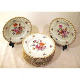Set of 12 Helena Wolfson dinners, each painted with a different  bouquet, ca 1890s, Sold