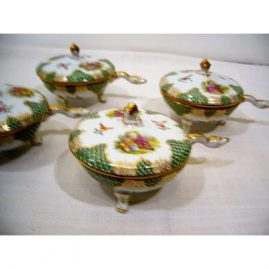 Set of 11 Dresden ramekins or covered turtle soups. each on three raised feet, each one with different hand painted scenes of lovers with turtle head handles, 1880s-1890s, sold