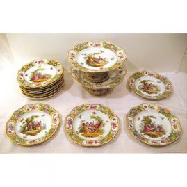 Rare set of 11 reticulated  dessert plates and 2  reticulated compotes, each painted with different scenes, Carl Thieme Dresden,  ca-1890s, Sold