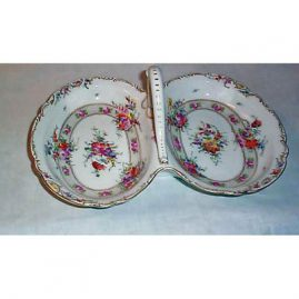 Dresden two compartment bowl, late 19th century, 13 inches long, Sold