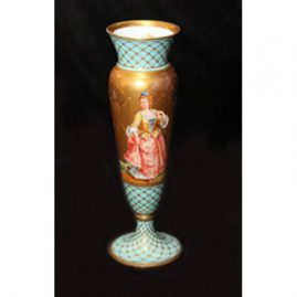Rare Dresden vase hand painted with 3 full figures and painted with raised gilding and raised gold and white jeweling made exclusively for Ovington Brothers, 3.5 inches by 11.5 inches tall. Late 19th century. Sold