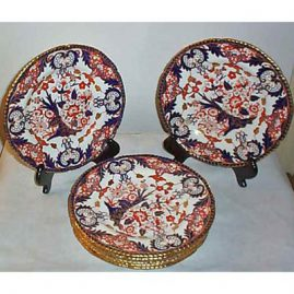 8 Royal Crown Derby Imari ruffled gilt edge dinners, 10 inches, ca-1903, Sold