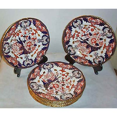 8 Royal Crown Derby Imari ruffled gilt edge dinners 10 inches ca-1903 Sold  sc 1 st  Elegant Findings Antiques & Royal Crown Derby China - Elegant Findings Antiques