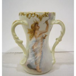 "T&V Limoges loving cup of scantilly dressed beauty blowing bubbles, artist signed and dated 1900, 7"" tall, Sold"