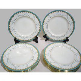 Set of 12 George Jones jeweled luncheon or dessert plates, 9 inches Sold