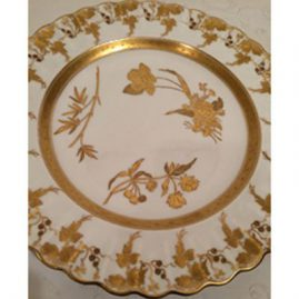 Set of twelve gilded and fluted Copeland dinner plates each painted with different wild flowers. Circa-1870s-1890s, Diameter is 10 inches. Sold.