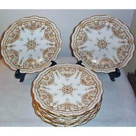 "12 Royal Crown Derby plates with profuse gilding  and gilt jeweling, 10 1/4"", ca- 1891-92, sold"