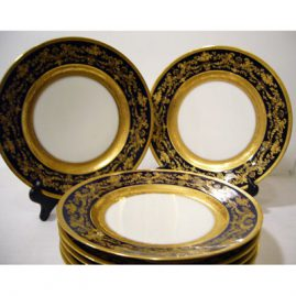 "Set of 12 Charles Ahrenfelt Limoges cobalt gilded dinner plates, ca-1900, 10 1/4"", with beautiful raised gilding, Sold"