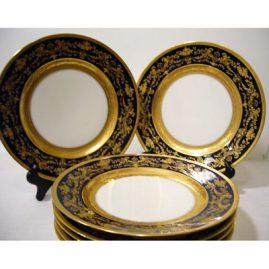 Set of 12 Charles Ahrenfelt Limoges cobalt gilded dinner plates