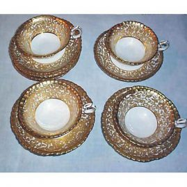 12 Hammersley cups and saucers with raised gilding