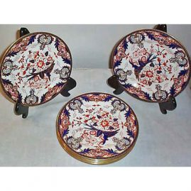 8 Royal Crown Derby Imari desserts, ca-1894, 8 inches, sold
