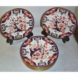 12 Royal Crown Derby lunch plates, 9 inches, ca-1893, sold