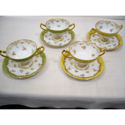 Inside of set of 11 Lamb Dresden desserts or cream soups with raised gilt decoration