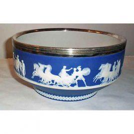 BP&Co England silver plate rim bowl with jasper ware horse scenes, 1890-1920, 9 inch diameter, $895.00